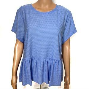 LC Lauren Conrad Blue Peplum Short Sleeve